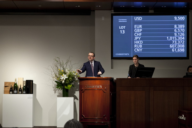 Christie's wine auction in action. Photos: Courtesy of Christie's.