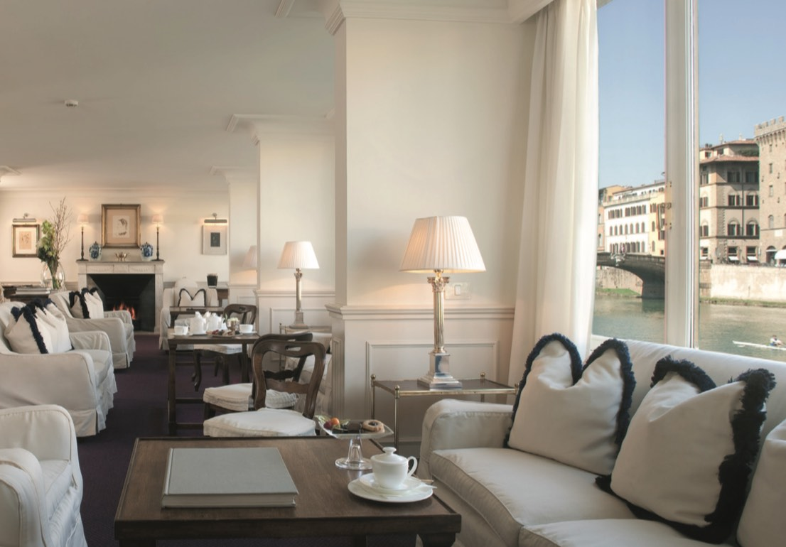 Hotel Lungarno's elegant lobby, overlooking the Arno River