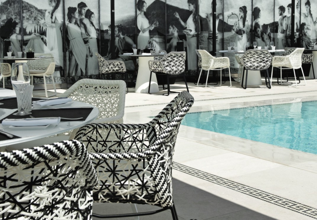 The Karl Lagerfeld-designed Hotel Metropole pool