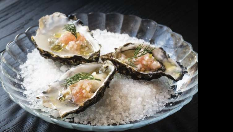 Golden Nugget oysters on the half shell with grapefruit mignonette