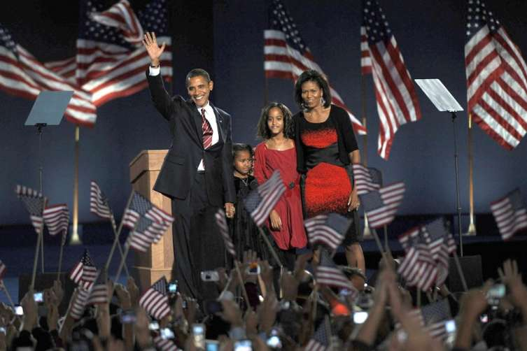 Michelle Obama wears Narciso Rodriguez on Election Night in 2008