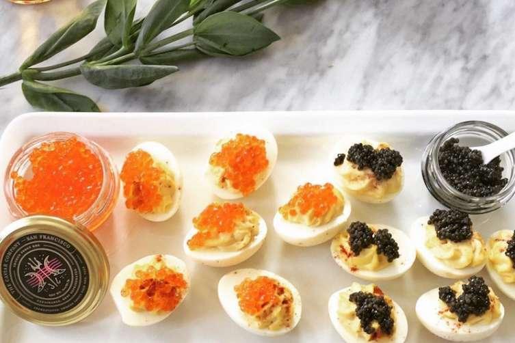 Deviled eggs and Caviar Company caviar
