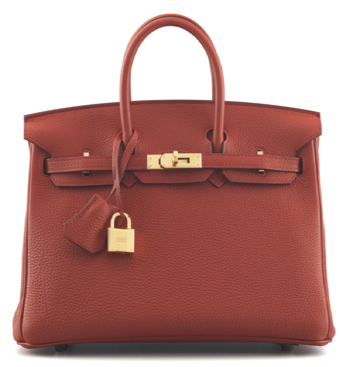 re ROUGE TOMATE CLEMENCE LEATHER BIRKIN 25 BAG