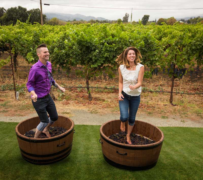 Stomping grapes at Grigch