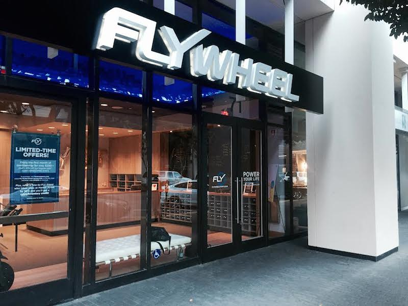 The storefront of the new Flywheel on Spear Street in between Market and Mission