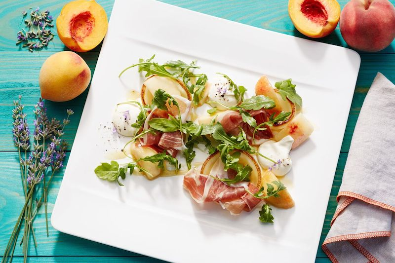 Nectarines and prosciutto at Solbar