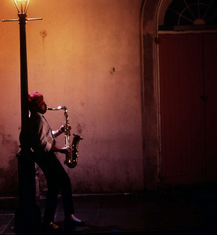 A musician plays on a New Orleans street corner