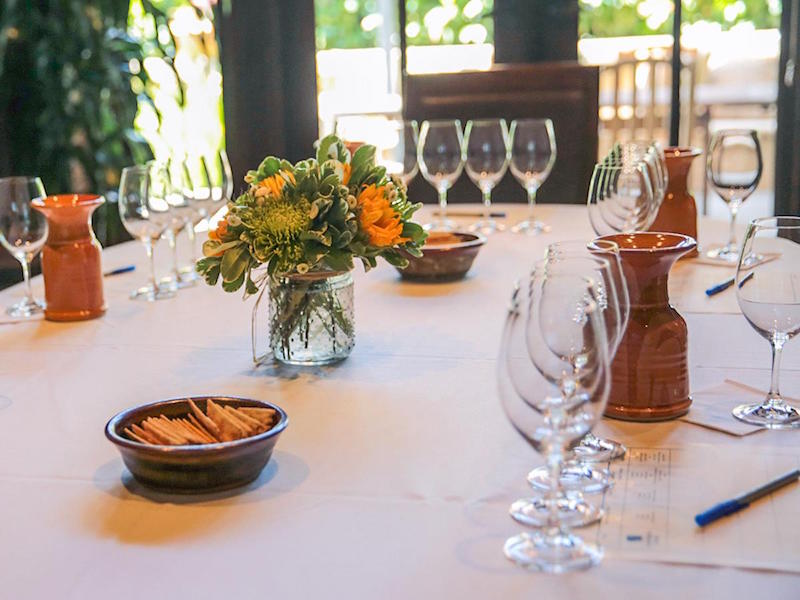 A table set for a tasting