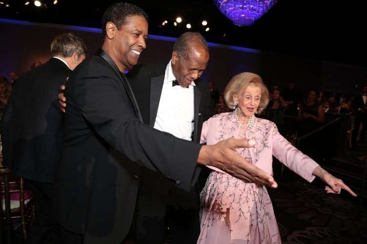 "Denzel Washington, Sidney Poitier, and Barbara Davis appear at ""The 30th Carousel of Hope Gala"" benefitting the Barbara Davis Center for Childhood Diabetes"