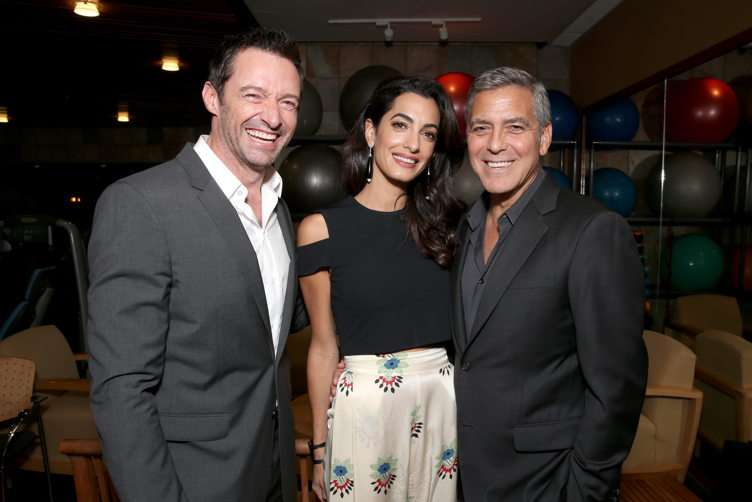 Actor Hugh Jackman, lawyer Amal Clooney and host George Clooney