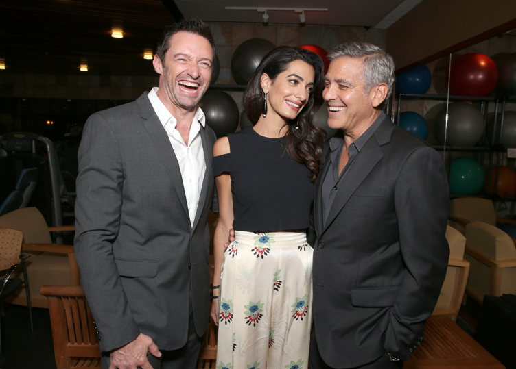 "Actor Hugh Jackman, lawyer Amal Clooney and host George Clooney attend the MPTF 95th anniversary celebration with ""Hollywood's Night Under The Stars"" at MPTF Wasserman Campus"