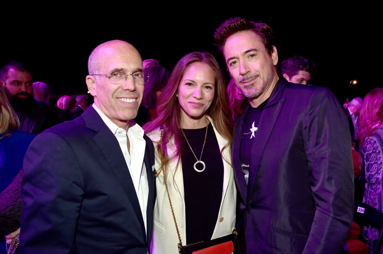 Producer Jeffrey Katzenberg, producer Susan Downey, and actor Robert Downey Jr.