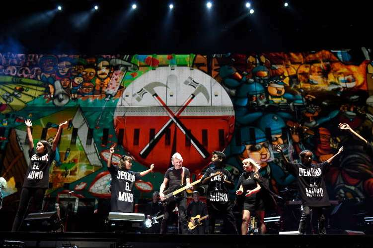 Roger Waters (C) of The Who performs during Desert Trip at The Empire Polo Club on October 9