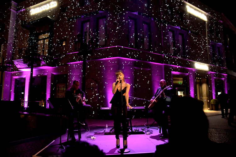 Ariana Grande performs at Tiffany & Co.'s unveiling of the newly renovated Beverly Hills store