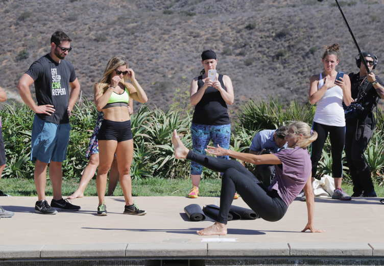 Gabby Reece gives an instructional workout in Malibu, California.
