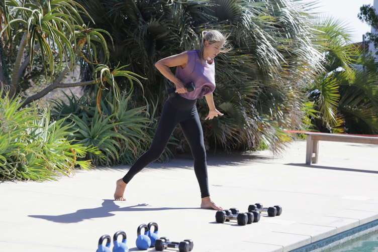 Gabby Reece gives an instructional workout session with Sambazon in Malibu, California