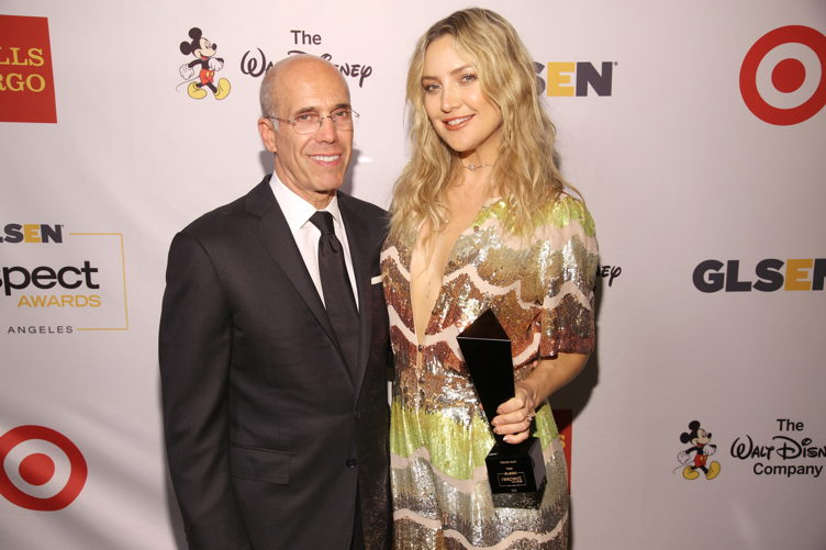 Honorary Co-Chair Jeffrey Katzenberg (L) and Honoree Kate Hudson