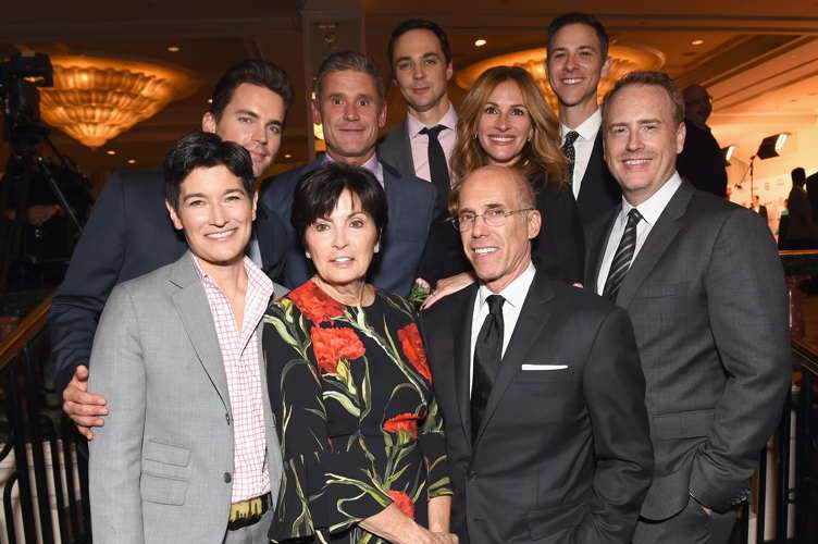(L-R) Executive director of GLSEN Eliza Byard, honorary co-chairs Matt Bomer, Simon Halls, Marilyn Katzenberg, Jim Parsons, Jeffrey Katzenberg, Julia Roberts, Todd Spiewak and Robert Greenblatt