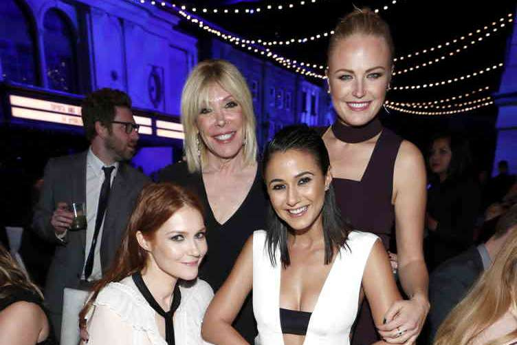 (L-R) Actress Darby Stanchfield, president EMA Debbie Levin and actors Emmanuelle Chriqui and Malin Akerman