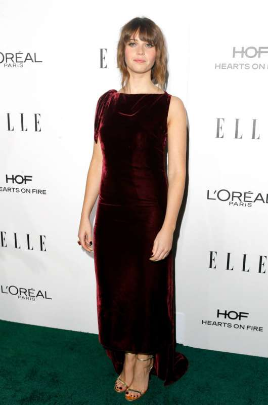 Honoree Felicity Jones is wearing a Dior dress and David Webb jewels.