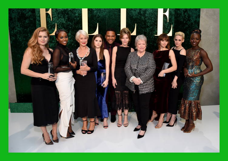(L-R) Honoree Amy Adams, honoree Aja Naomi King, honoree Helen Mirren, honoree Anna Kendrick, host Anthony Anderson, ELLE Editor-in-Chief Robbie Myers, honoree Kathy Bates, honoree Felicity Jones, honoree Kristen Stewart, and honoree Lupita Nyong'o pose during the 23rd Annual ELLE Women In Hollywood Awards
