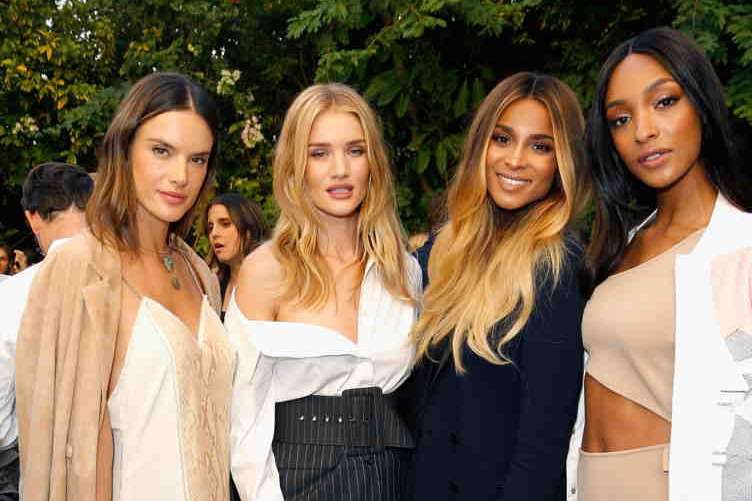 (L-R) Models Alessandra Ambrosio, Rosie Huntington-Whiteley, singer Ciara and model Jourdan Dunn
