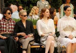 (L-R) Singer Annie Clark of St. Vincent, actress Kristen Stewart, actress Emma Stone and singer Katy Perry at the CFDA/Vogue Fashion Fund Show and Tea presented by kate spade new york at Chateau Marmont