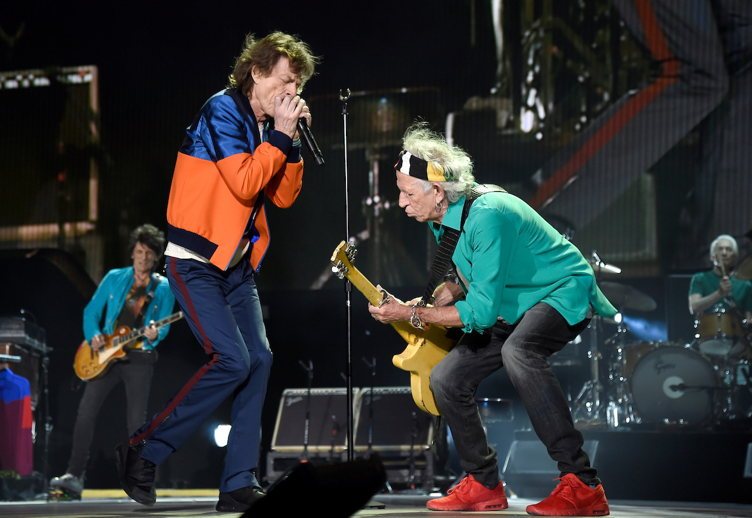 Ronnie Wood, Mick Jagger, Keith Richards and Charlie Watts of The Rolling Stones perform onstage during Desert Trip at The Empire Polo Club on October 7