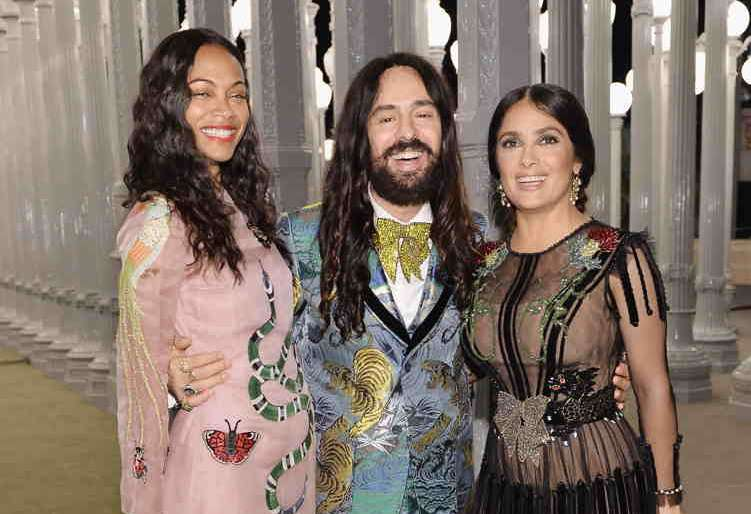 (L-R) Actress Zoe Saldana, wearing Gucci, Gucci Creative Director Alessandro Michele, and actress Salma Hayek