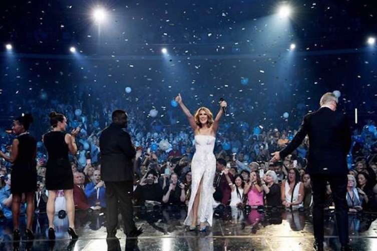 Céline Dion performs her during her sold-out show in Las Vegas. This marks her 1,000th show.