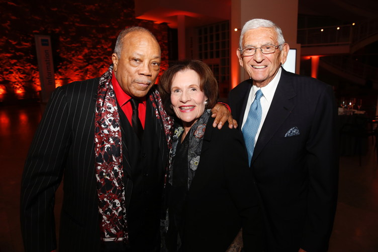 Quincy Jones, Edythe Broad and Eli Broad pose during The J. Paul Getty Medal Dinner on October 17