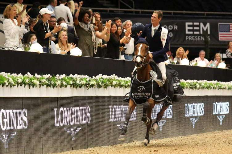 Daniel Deusser rides at the Longines Masters of Los Angeles at the Long Beach Convention Center