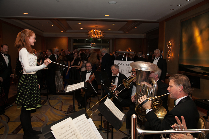 Young girl conducting Boston Landmarks Orchestra at 15th Anniversary Gala, Saturday, October 1, 2016 at the Mandarin Oriental, Boston, MA