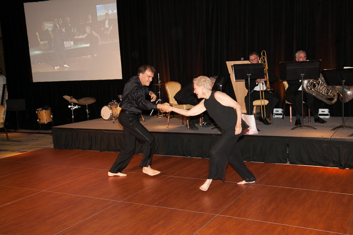 Christopher Wilkins and Swanee Hunt dancing at 15th Anniversary Gala of Boston Landmarks Orchestra, Saturday, October 1, 2016 at the Mandarin Oriental, Boston, MA