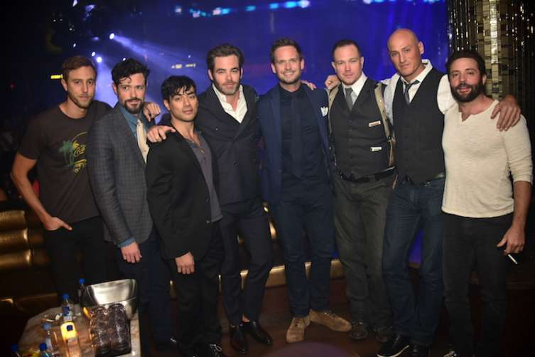 Patrick J Adams, Chris Pine and Brendan Hines at Omnia.