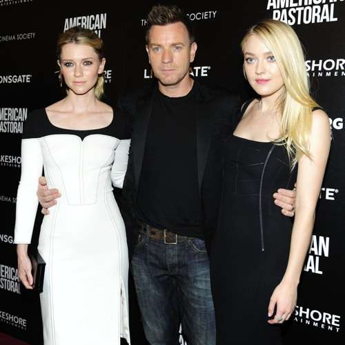 "NEW YORK, NY - OCTOBER 19:  (L-R) Valorie Curry, Ewan McGregor and Dakota Fanning attend Lionsgate and Lakeshore Entertainment with Bloomberg Pursuits Host a Screening of ""American Pastoral""  at Museum of Modern Art on October 19, 2016 in New York City. (Photo by Paul Bruinooge/Patrick McMullan via Getty Images)"