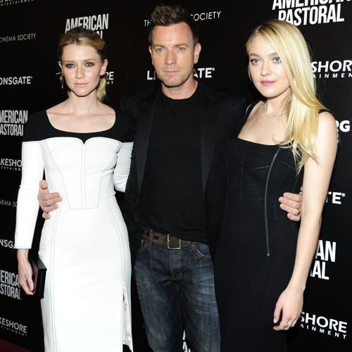 """NEW YORK, NY - OCTOBER 19: (L-R) Valorie Curry, Ewan McGregor and Dakota Fanning attend Lionsgate and Lakeshore Entertainment with Bloomberg Pursuits Host a Screening of """"American Pastoral"""" at Museum of Modern Art on October 19, 2016 in New York City. (Photo by Paul Bruinooge/Patrick McMullan via Getty Images)"""