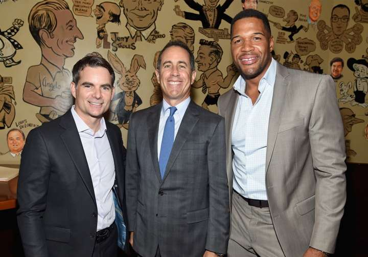NEW YORK, NY - OCTOBER 18: (L-R) NASCAR Drive Jeff Gordon, Host Jerry Seinfeld and TV Personality Michael Strahan attend the New York Fatherhood Lunch to benefit GOOD+ Foundation on October 18, 2016 in New York City. (Photo by Jamie McCarthy/Getty Images for GOOD+)