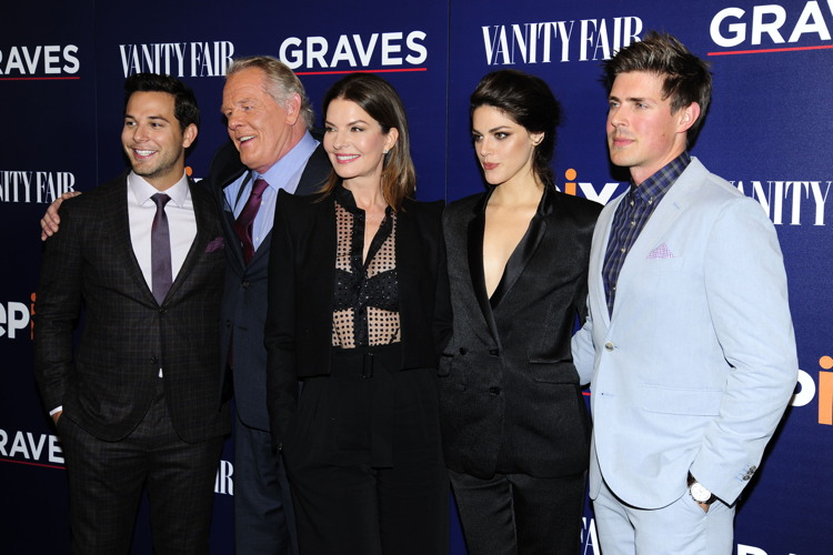 "Skylar Astin, Nick Nolte, Sela Ward, Callie Hernandez, Chris Lowell== EPIX and Vanity Fair Host the Premiere of EPIX Original Series ""Graves""== MoMA, NYC== October 5, 2016== ©Patrick McMullan== Photo - Paul Bruinooge/PMC== =="