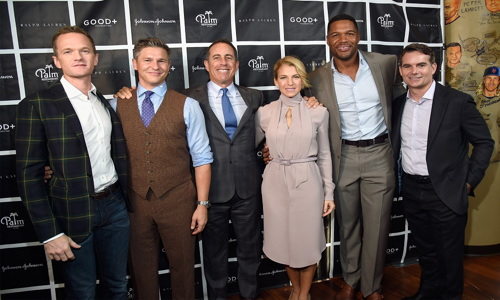 NEW YORK, NY - OCTOBER 18: (L-R) Actor Neil Patrick Harris , TV Personality David Burtka, Host Jerry Seinfeld, Founder and President of GOOD+ Foundation Jessica Seinfeld, TV Personality Michael Strahan and NASCAR Driver Jeff Gordon attend the New York Fatherhood Lunch to benefit GOOD+ Foundation on October 18, 2016 in New York City. (Photo by Kevin Mazur/Getty Images for GOOD+)