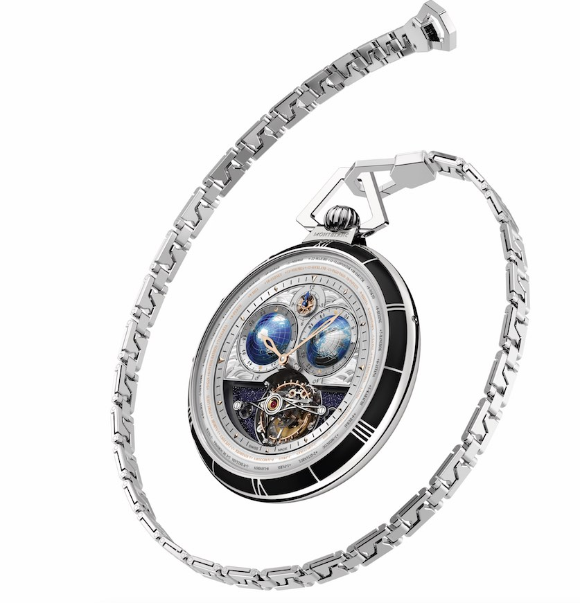 The reverse side of the 60MM white gold watch enables viewing of the finely hand-engraved and hand-finished movement