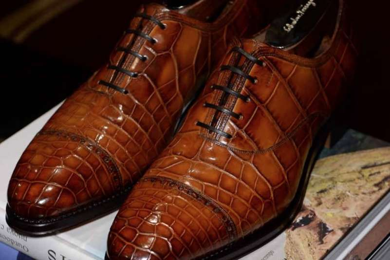 Salvatore Ferragamo Tramezza Made to Order Crocodile Cap Toe Oxfords, $12,500; tramezza.ferragamo.com