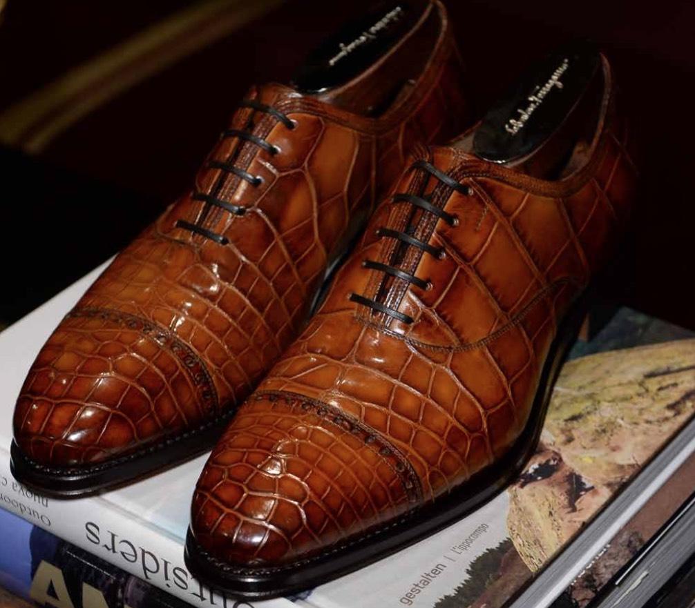 Salvatore Ferragamo Tramezza Made to Order Crocodile Cap Toe Oxfords, $12,500; tramezza.ferragamo.com
