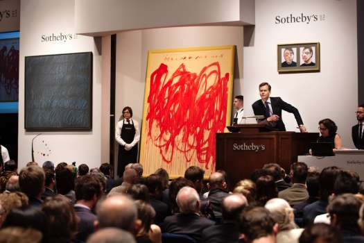 The contemporary art auction in progress .at Sotheby's last May.
