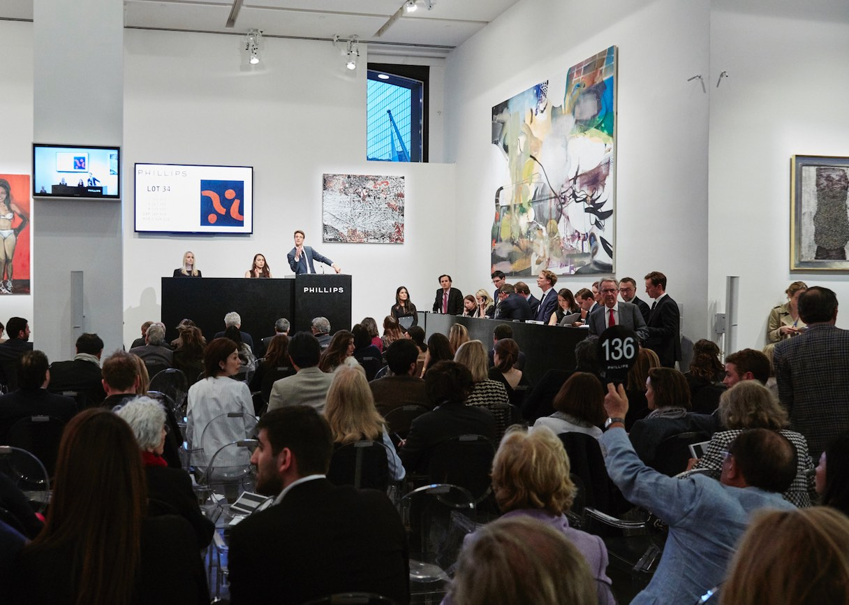 The Phillips auction room.. The company added 20th-century art to its contemporary art auctions last November.