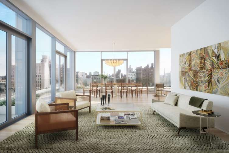An exterior and living room view of Macklowe's new project at 21 East 12th Street, designed by Selldorf Architects.