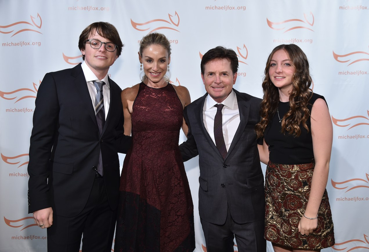 "Sam Michael Fox, Tracy Pollan, Michael J. Fox, and Esme Fox attend the Michael J. Fox Foundation ""A Funny Thing Happened on the Way to Cure Parkinson's"" Gala at the Waldorf-Astoria on November 14, 2015, in New York City."