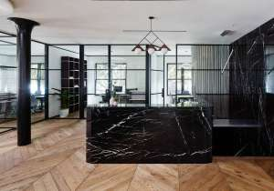 Black marble and triangles are elements of Canopy's unique design