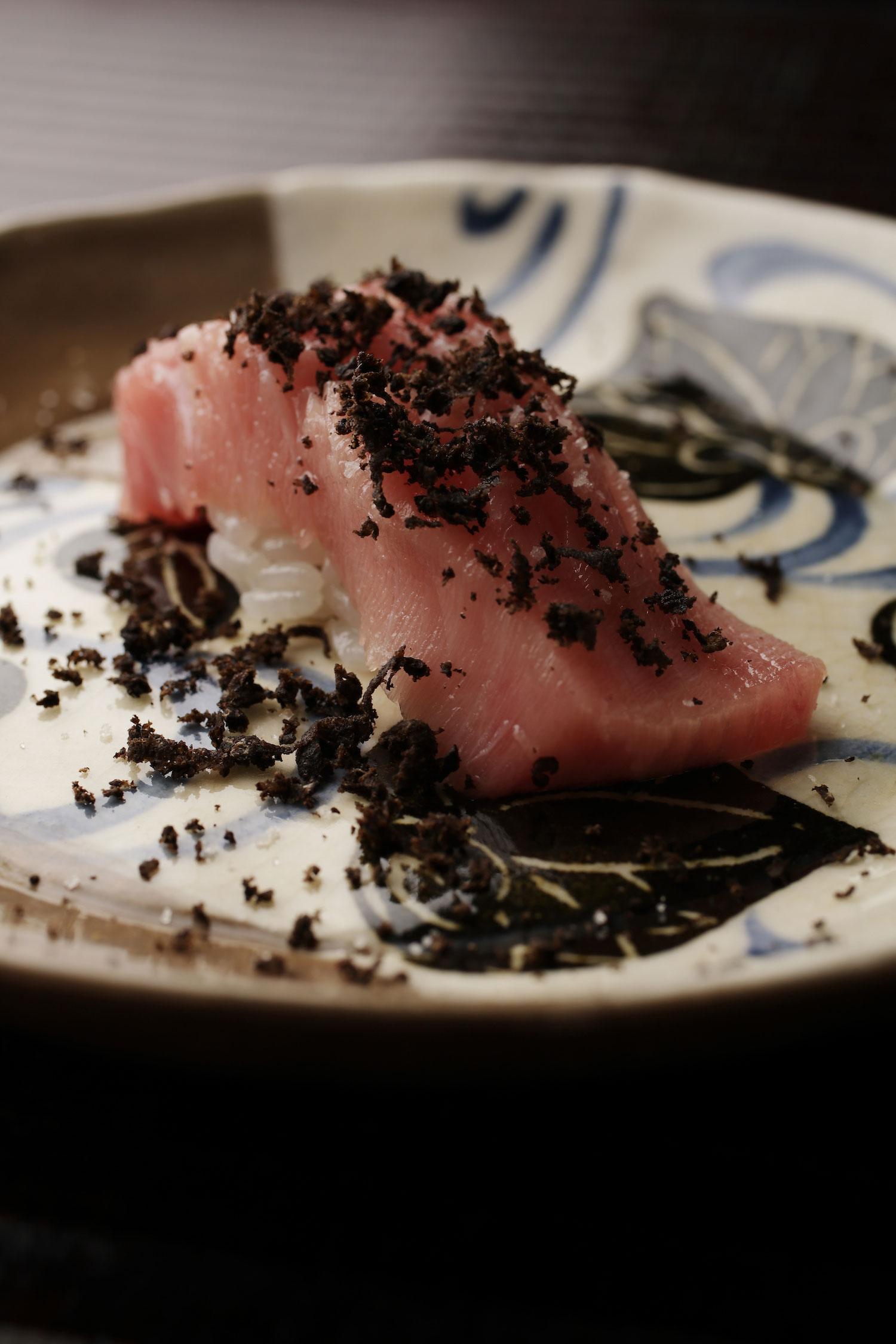 A tuna nigiri black truffle dish from Kenzo