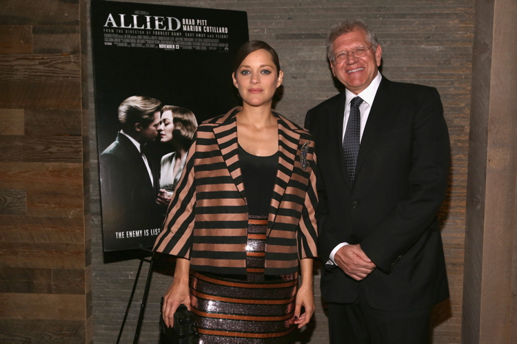 "Marion Cotillard, Robert Zemeckis== Paramount Pictures with The Cinema Society & Chandon Host a Special Screening of ""Allied""== iPic Theater, NYC== November 15, 2016== ©Patrick McMullan== Photo - Sylvain Gaboury/PMC== =="